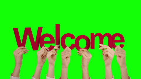 Hands holding up welcome Animation