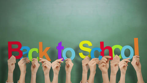 Hands holding up back to school Stock Video Footage