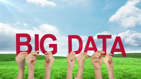 Hands holding up big data Animation