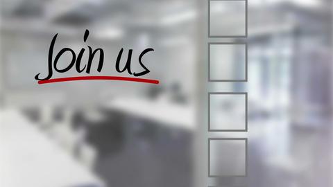 Businessman ticking join us checklist Animation