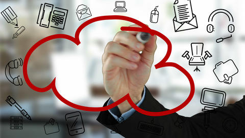 Businessman drawing cloud flow chart Animation