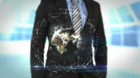 Businessman using futuristic interface screen Animation