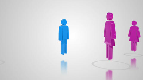 3d men and women rotating Stock Video Footage