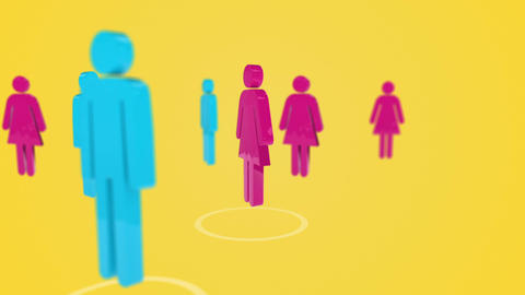 3d men and women rotating Animation
