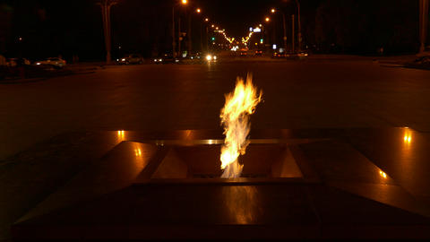 4K Ungraded: Eternal Flame Burning at Night on Victory Square in Minsk Footage