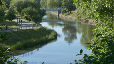 Ungraded: Landscape With River Svisloch In Minsk, Belarus Calm Summer Day stock footage