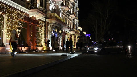 Facade of the Hotel Restaurant (New Year party) Footage