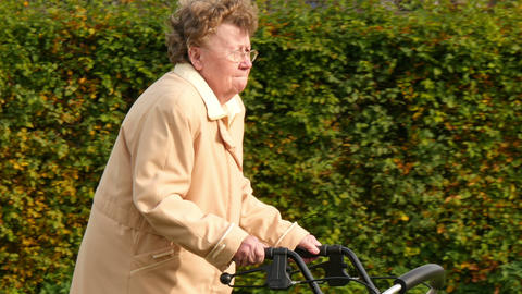 pensioner wheel walker in autumn park side close 4k 11771 Footage