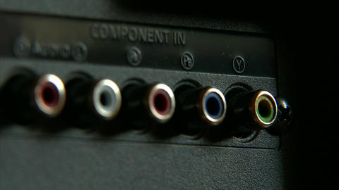 4K Analog Audio-Video RCA Connectors on Back Side of TV Set Footage