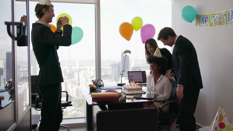 2 Business People Celebrating Colleague Birthday Party In Office Footage