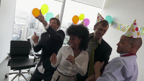 6 Business People Celebrating Colleague Birthday Party In Office Footage