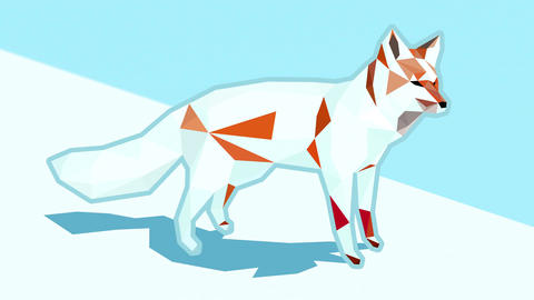 Animated low poly illustration of a red fox on green background turning white on Animation
