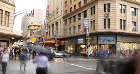 Sydney Australia George St city street traffic and people time lapse Footage