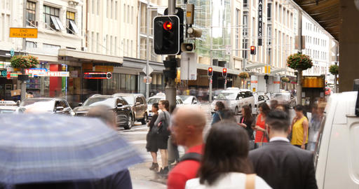 George St Sydney Australia city street traffic and people time lapse Footage