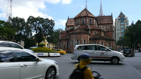 HO CHI MINH / SAIGON, VIETNAM - 2015: Streets busy asian city life notre dame Footage