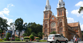 HO CHI MINH / SAIGON, VIETNAM - NOVEMBER 2015: Saigon Notre-Dame Basilica Footage