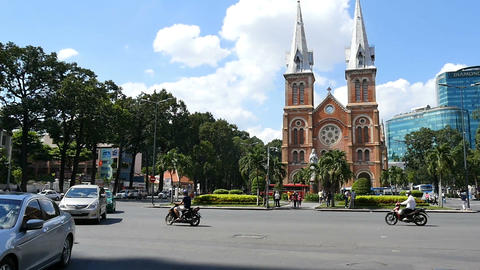 HO CHI MINH / SAIGON, VIETNAM - 2015: Streets busy asian city life notre dame Footage