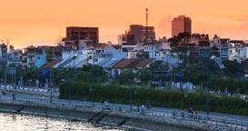 SAIGON RIVER HO CHI MINH, VIETNAM - NOVEMBER 2015: Asia City Sunset Footage