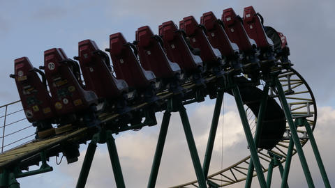 4K Ungraded: Roller Coaster Slowly Rides Up on Tracks, Turns Down and Begins Footage