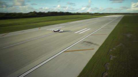 Aerial Shot : Landing Airplane in Airport Footage