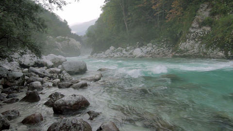 Misty river at Kamp Koren Kobarid, Slovenia Footage
