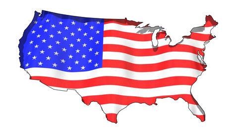 USA Map and American Flag Animation