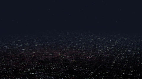 4 K Huge Flat Suburban Area at Night Aerial View 4 tilt shift Animation