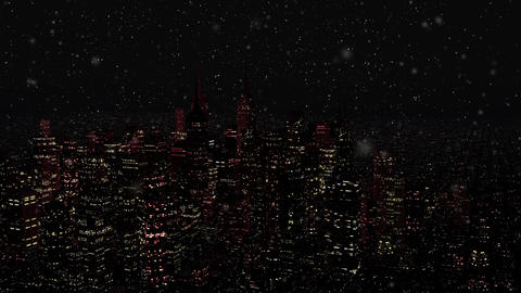 4 K Modern City at Night in Snowfall v 3 3 Animation