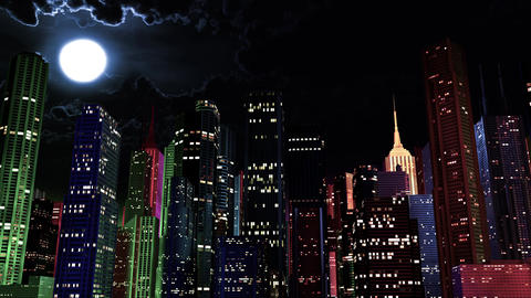 4 K Modern City Lit by Colorful Light Effects at Night 2, Stock Animation