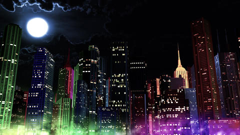 4 K Modern City Lit by Colorful Light Effects at Night 4 Animation