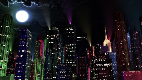 4 K Modern City Lit by Colorful Light Effects at Night 6 reflectors Animation