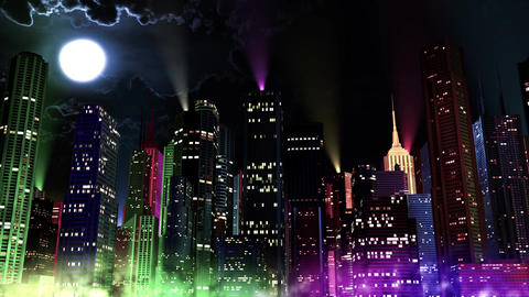 4 K Modern City Lit by Colorful Light Effects at Night 8 reflectors Animation