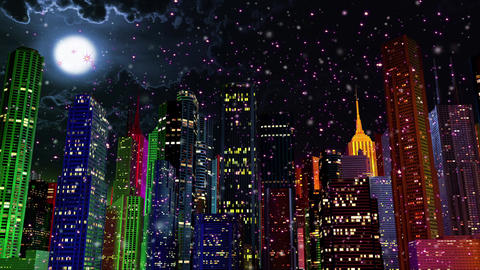4 K Modern City Lit by Colorful Light Effects at Night in Magic Snowfall 1 Animation