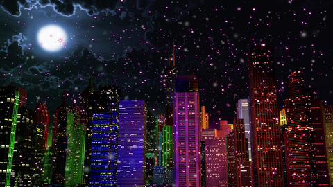 4 K Modern City Lit by Colorful Light Effects at Night in Magic Snowfall v 2 1 Animation