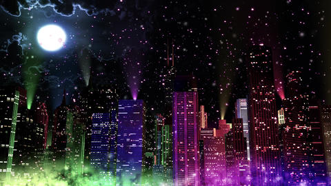 4 K Modern City Lit by Colorful Light Effects at Night in Magic Snowfall v 2 4 r Animation