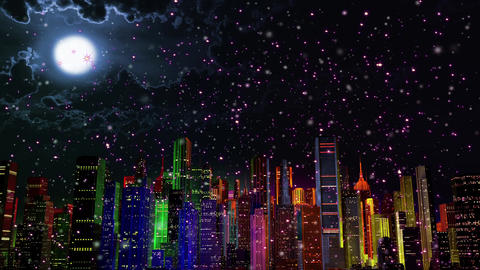 4 K Modern City Lit by Colorful Light Effects at Night in Magic Snowfall v 3 1 Animation
