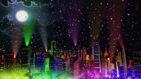 4 K Modern City Lit by Colorful Light Effects at Night in Magic Snowfall v 3 3 r Animation