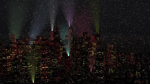 4 K Modern City Lit by Colorful Light Effects at Night in Snowfall Aerial View 1 Animation
