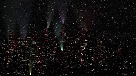 4 K Modern City Lit by Colorful Light Effects at Night in Snowfall Aerial View 3 Animation