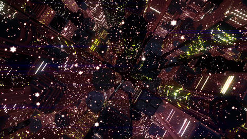 4 K Modern City Lit by Colorful Light Effects at Night in Snowfall Top View 6 Animation