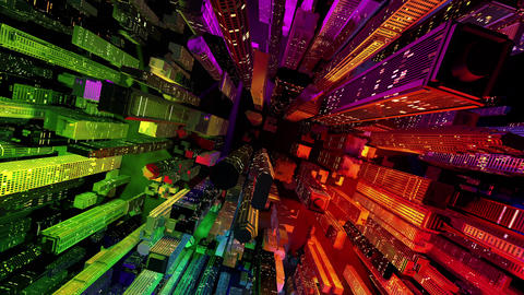 4 K Modern City Lit by Colorful Light Effects at Night Top View 3 Animation