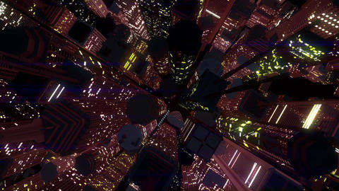 4 K Modern City Lit by Colorful Light Effects at Night Top View 6 Animation