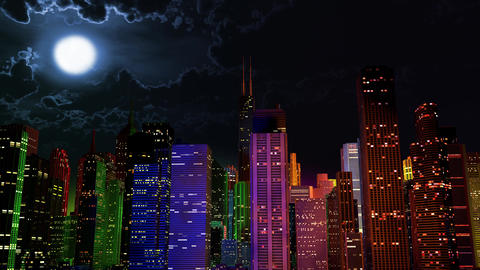 4 K Modern City Lit by Colorful Light Effects at Night v 2 1 Animation