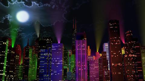 4 K Modern City Lit by Colorful Light Effects at Night v 2 5 reflectors Animation
