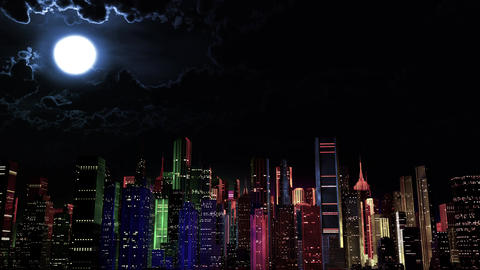 4 K Modern City Lit by Colorful Light Effects at Night v 3 2 Animation