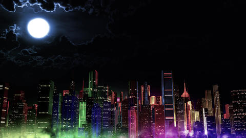 4 K Modern City Lit by Colorful Light Effects at Night v 3 4 Animation