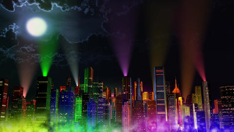 4 K Modern City Lit by Colorful Light Effects at Night v 3 7 reflectors Animation