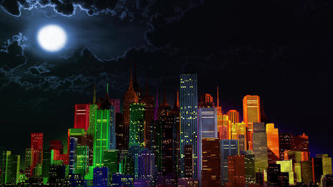 4 K Modern City Lit by Colorful Light Effects at Night v 4 1 Animation