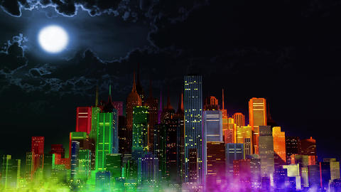 4 K Modern City Lit by Colorful Light Effects at Night v 4 3 Animation