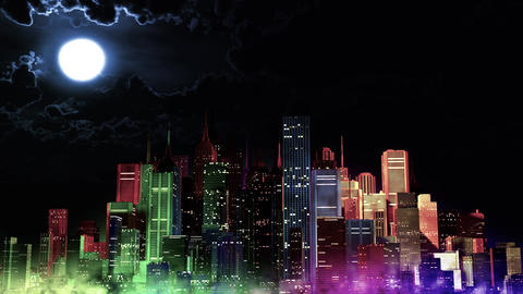 4 K Modern City Lit by Colorful Light Effects at Night v 4 4 Animation